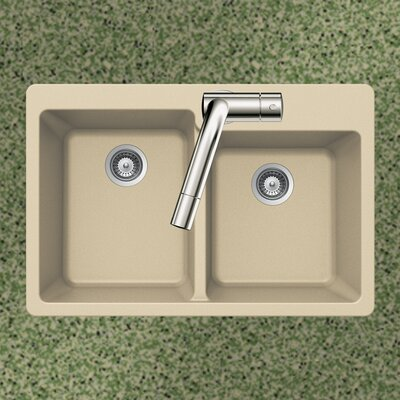 Quartztone 33 x 22 60/40 Double Bowl Topmount Kitchen Sink Finish: Sand