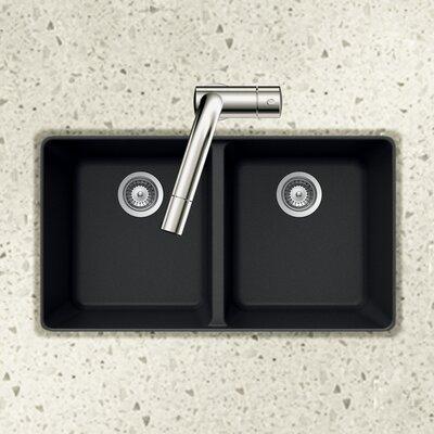Quartztone 33 x 18.5 50/50 Double Bowl Undermount Kitchen Sink Finish: Black