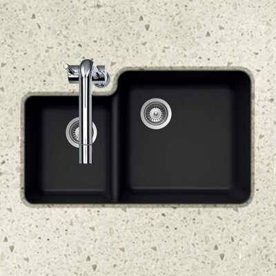 Quartztone 33 x 20.76 70/30 Double Bowl Undermount Kitchen Sink Finish: Black
