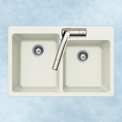 Quartztone 33 x 22 60/40 Double Bowl Topmount Kitchen Sink Finish: White