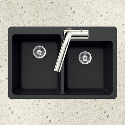 Quartztone 33 x 22 60/40 Double Bowl Topmount Kitchen Sink Finish: Black