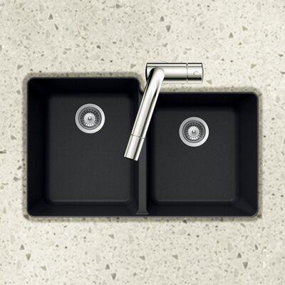 Quartztone 33 x 20.5 60/40 Double Bowl Undermount Kitchen Sink Finish: Black