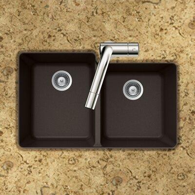 Quartztone 33 x 20.5 60/40 Double Bowl Undermount Kitchen Sink Finish: Mocha