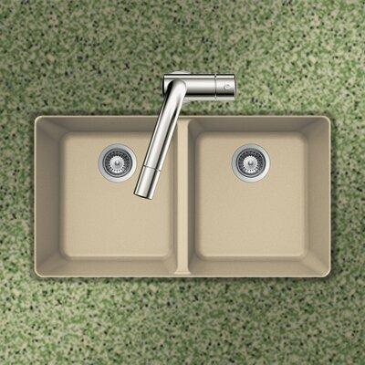 Quartztone 33 x 18.5 50/50 Double Bowl Undermount Kitchen Sink Finish: Sand