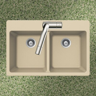 Quartztone 33 x 22 50/50 Double Bowl Topmount Kitchen Sink Finish: Sand