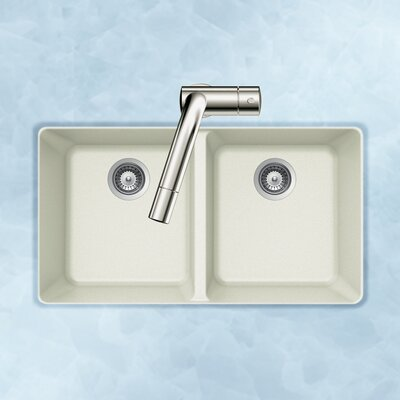 Quartztone 33 x 18.5 50/50 Double Bowl Undermount Kitchen Sink Finish: White