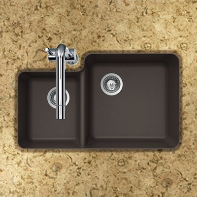 Quartztone 33 x 20.76 70/30 Double Bowl Undermount Kitchen Sink Finish: Mocha