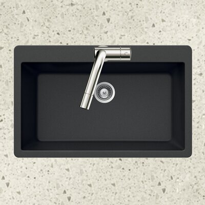 Quartztone 33 x 22 Large Single Bowl Topmount Kitchen Sink Finish: Black