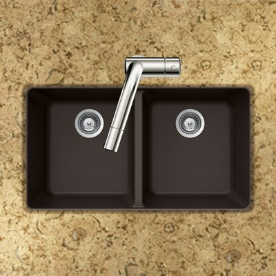 Quartztone 33 x 18.5 50/50 Double Bowl Undermount Kitchen Sink Finish: Mocha