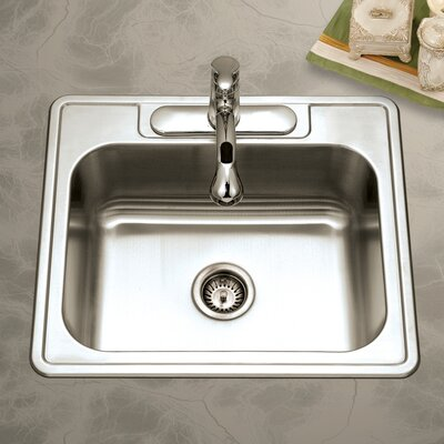 Glowtone 25 x 22 Topmount Single Bowl 20 Gauge Kitchen Sink Faucet Drillings: 4 Holes