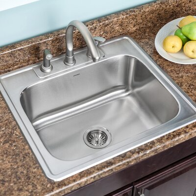 Glowtone 25 x 22 Topmount Single Bowl 18 Gauge Kitchen Sink Faucet Drillings: 4 Holes