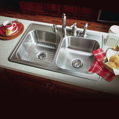 Glowtone ADA Compliant 33 x 22 Topmount Double Bowl 18 Gauge Kitchen Sink Faucet Drillings: 3 Holes