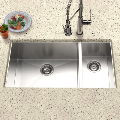 Contempo 33 x 18 Zero Radius Undermount Double Bowl 70/30 Kitchen Sink