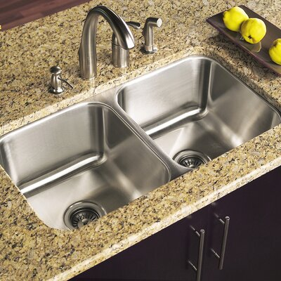 Elite 31.5 x 17.94 Undermount Double Bowl 50/50 Kitchen Sink