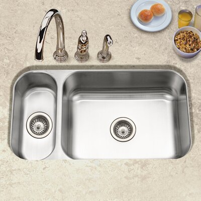 Elite 31.5 x 15.75 - 17.94 Undermount Double Bowl 80/20 Kitchen Sink