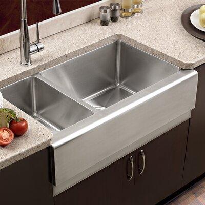 Epicure 32.88 x 16 - 20 Farmhouse Double Bowl 70/30 Kitchen Sink Bowl Configuration: Left