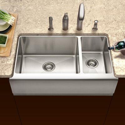 Epicure 32.88 x 20 Farmhouse Double Bowl 70/30 Kitchen Sink