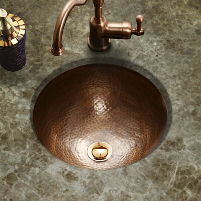 Hammerwerks Classic Flat Lip Circular Undermount Bathroom Sink with Overflow Sink Finish: Copper