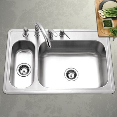 Legend 33 x 15.75 - 22 Topmount Double Bowl 80/20 Kitchen Sink