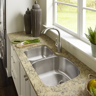 Medallion Designer 32.5 x 17.19 - 20.69 Undermount Double Bowl 70/30 Kitchen Sink Bowl Configuration: Left