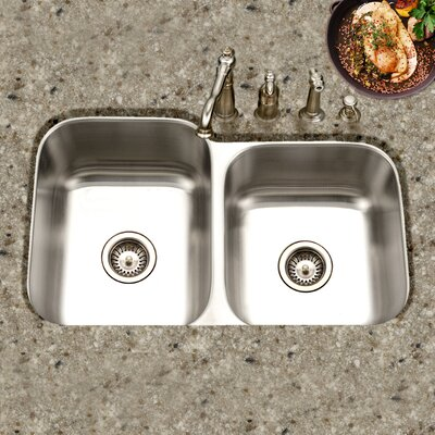 Medallion Classic 31.5 x 17.94 - 20.19 Undermount Double Bowl 60/40 Kitchen Sink with Small Right Bowl
