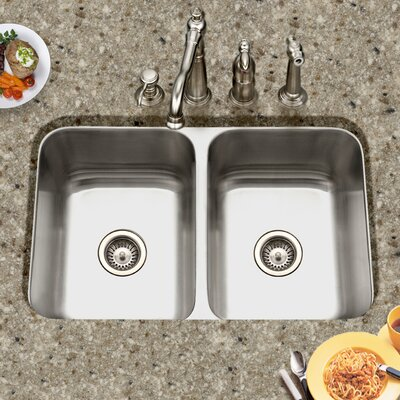 Medallion Gourmet 31.5 x 18 - 20.19 Undermount Double Bowl 50/50 Kitchen Sink