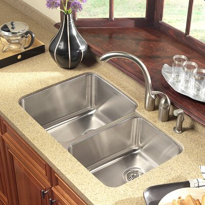 Medallion Gourmet 31.88 x 18.5 - 20.63 Undermount Double Bowl 60/40 Kitchen Sink