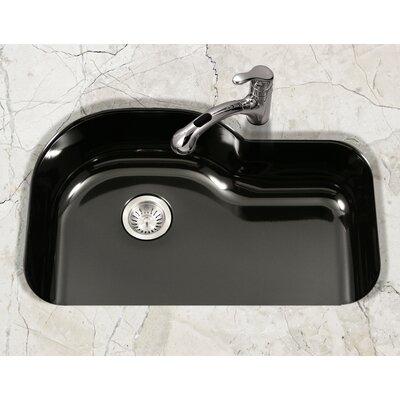 Porcela 31.26 x 20.67 Porcelain Enamel Offset Undermount Kitchen Sink Finish: Black