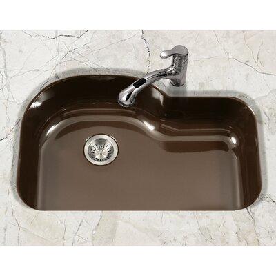 Porcela 31.26 x 20.67 Porcelain Enamel Offset Undermount Kitchen Sink Finish: Espresso