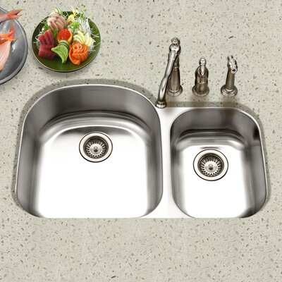 Eston 32.19 x 20.5 Undermount 70/30 Double Bowl Kitchen Sink