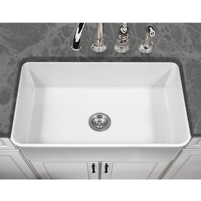 Platus 33 x 20 Apron Front Fire Clay SIngle Kitchen Sink Finish: White