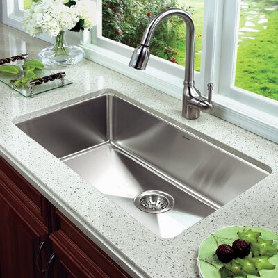 Nouvelle 31.13 x 18 Undermount Gourmet Large Single Bowl Kitchen Sink