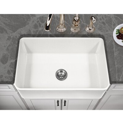Platus 30 x 20 Apron Front Fire Clay SIngle Kitchen Sink Finish: White