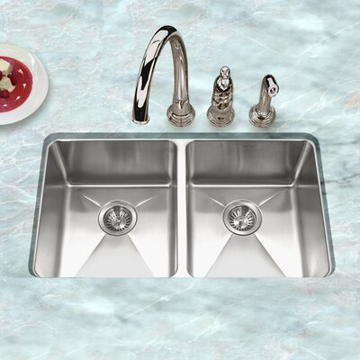 Nouvelle 31.13 x 18 Undermount 50/50 Double Bowl Kitchen Sink