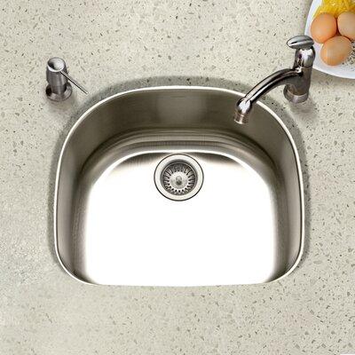 Eston 23.44 x 20.88 Undermount D Shape Single Bowl Kitchen Sink