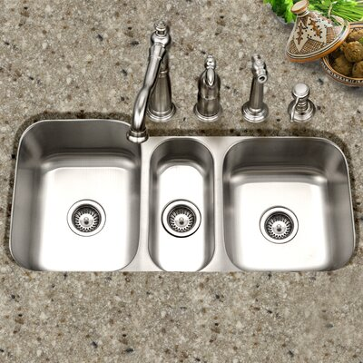 Medallion Gourmet 39.81 x 17.94 - 20.19 Undermount Triple Bowl Kitchen Sink