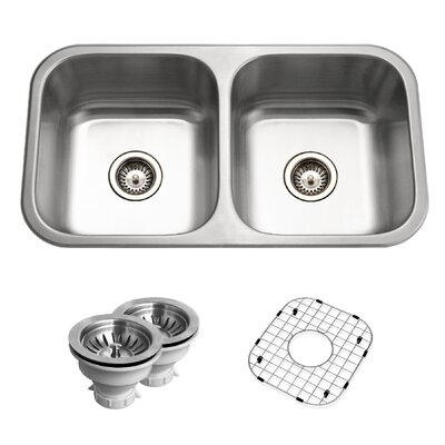 Belleo 31.5 x 17.94 Topmount Double Bowl Kitchen Sink