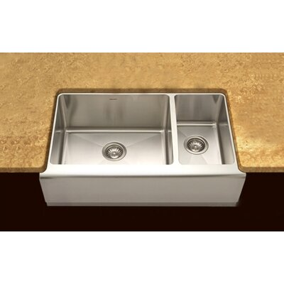 Epicure Farmhouse Double Bowl 70/30 Kitchen Sink in Brushed Satin