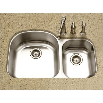 Medallion Designer Undermount Double Bowl 70/30 Kitchen Sink in Satin