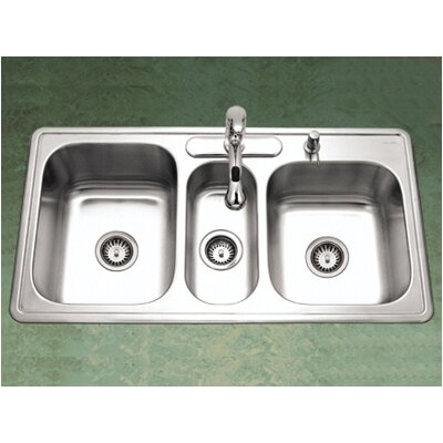 Premiere Gourmet Topmount Triple Bowl Kitchen Sink in Satin