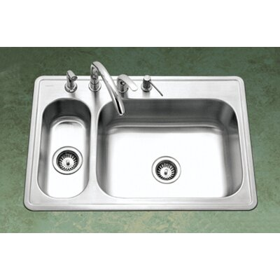 Legend Topmount Double Bowl 80/20 Kitchen Sink in Satin