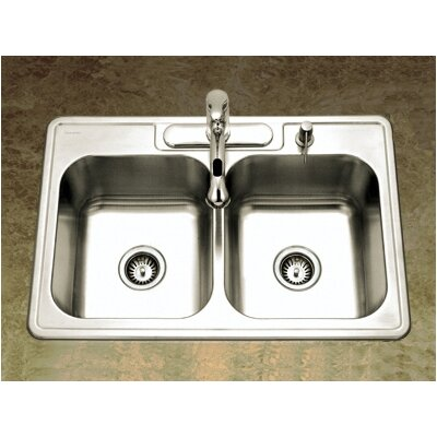 Glowtone Topmount Double Bowl 20 Gauge Kitchen Sink in Satin