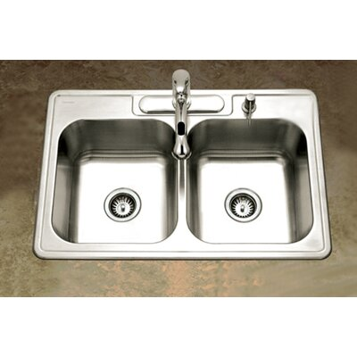 Glowtone Topmount Double Bowl 18 Gauge Kitchen Sink in Satin