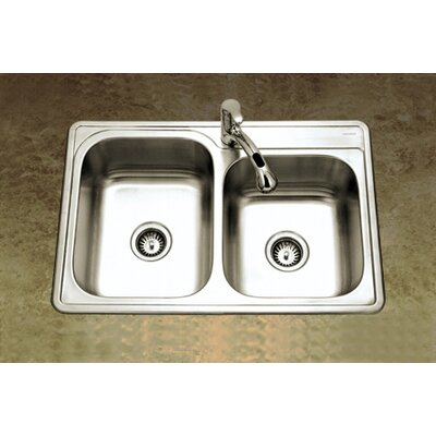 Glowtone 33 x 22 Topmount Double Bowl 20 Gauge Kitchen Sink with StoneGuard Undercoating