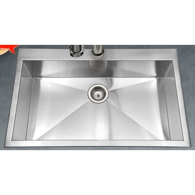 Bellus 33 x 22 Zero Radius Topmount Large Single Bowl Kitchen Sink