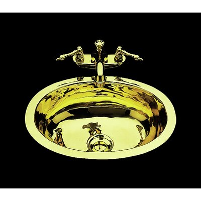 Sculptured Metal Oval Undermount Bathroom Sink with Overflow Sink Finish: Antique Brass