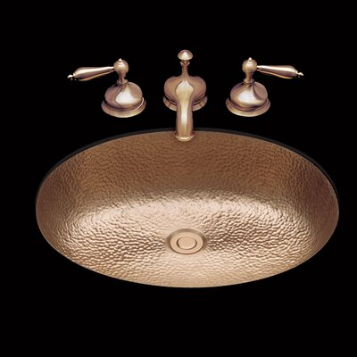 Sculptured Metal Oval Undermount Bathroom Sink with Overflow Sink Finish: Old Brass