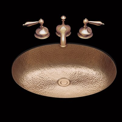 Sculptured Metal Oval Drop-In Bathroom Sink with Overflow Sink Finish: Antique Brass