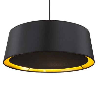 Weegee 2-Light Drum Pendant Shade Color: Metallic Black and Silver