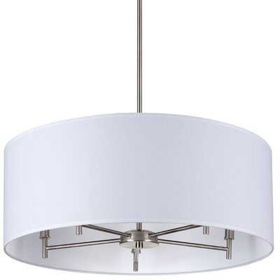 Walker 5-Light Drum Chandelier Base Finish: Brushed Nickel, Shade Color: White Pleated Parchment